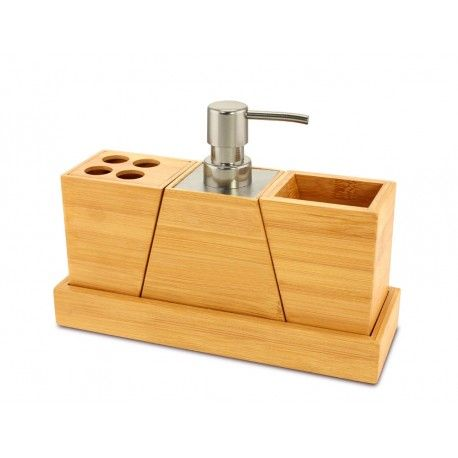 This #bamboo #bathroom Set Looks Great And Works Great Toothe Simple Bamboo Bathroom Accessories Inspiration