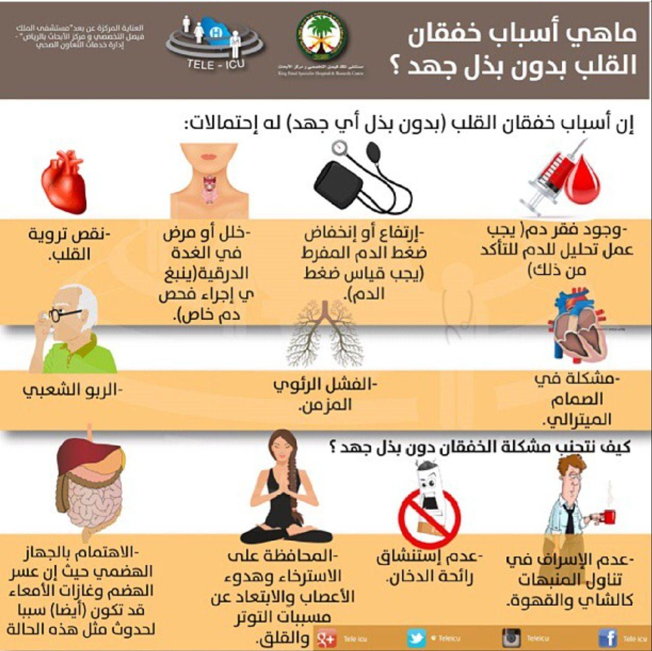 اسباب خفقان القلب بدون بذل اي جهد Health Info Health Fitness Nutrition Medical Information