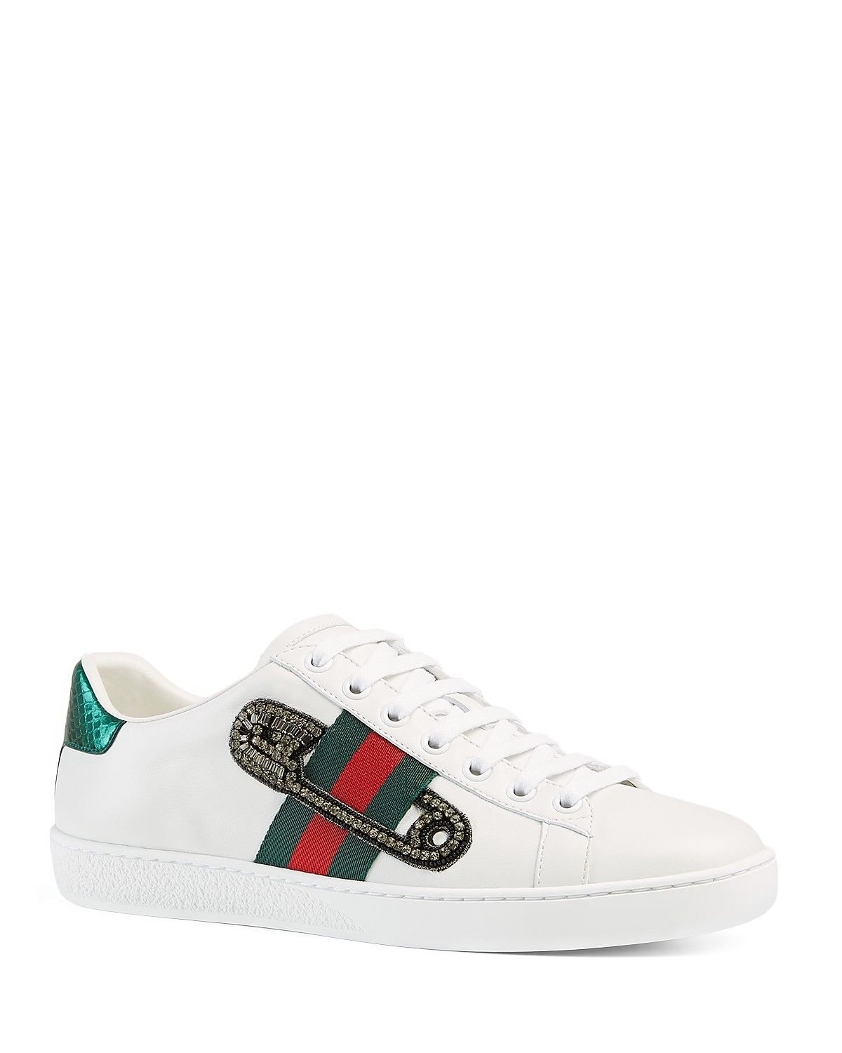 1f5a46a35 Gucci New Ace Safety Pin Lace Up Low Top Sneakers | trainers | Gucci ...
