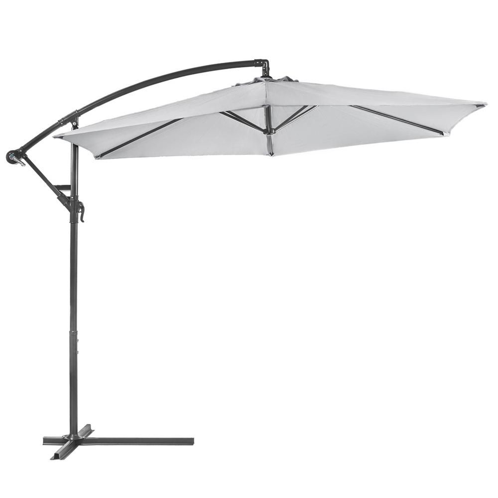 Barton 10 Ft Aluminum Outdoor Hanging Market Patio Umbrella In Dark Grey 96185 The Home Depot In 2020 Offset Patio Umbrella Patio Umbrella Umbrella