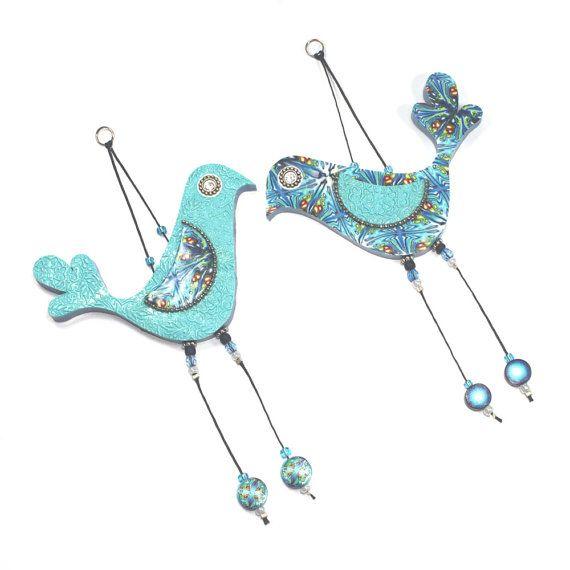 Wedding gift, wall decor love birds, Handmade love birds, Polymer clay birds, Bird couple with Blue, Turquoise, Green and White, A pair via Etsy