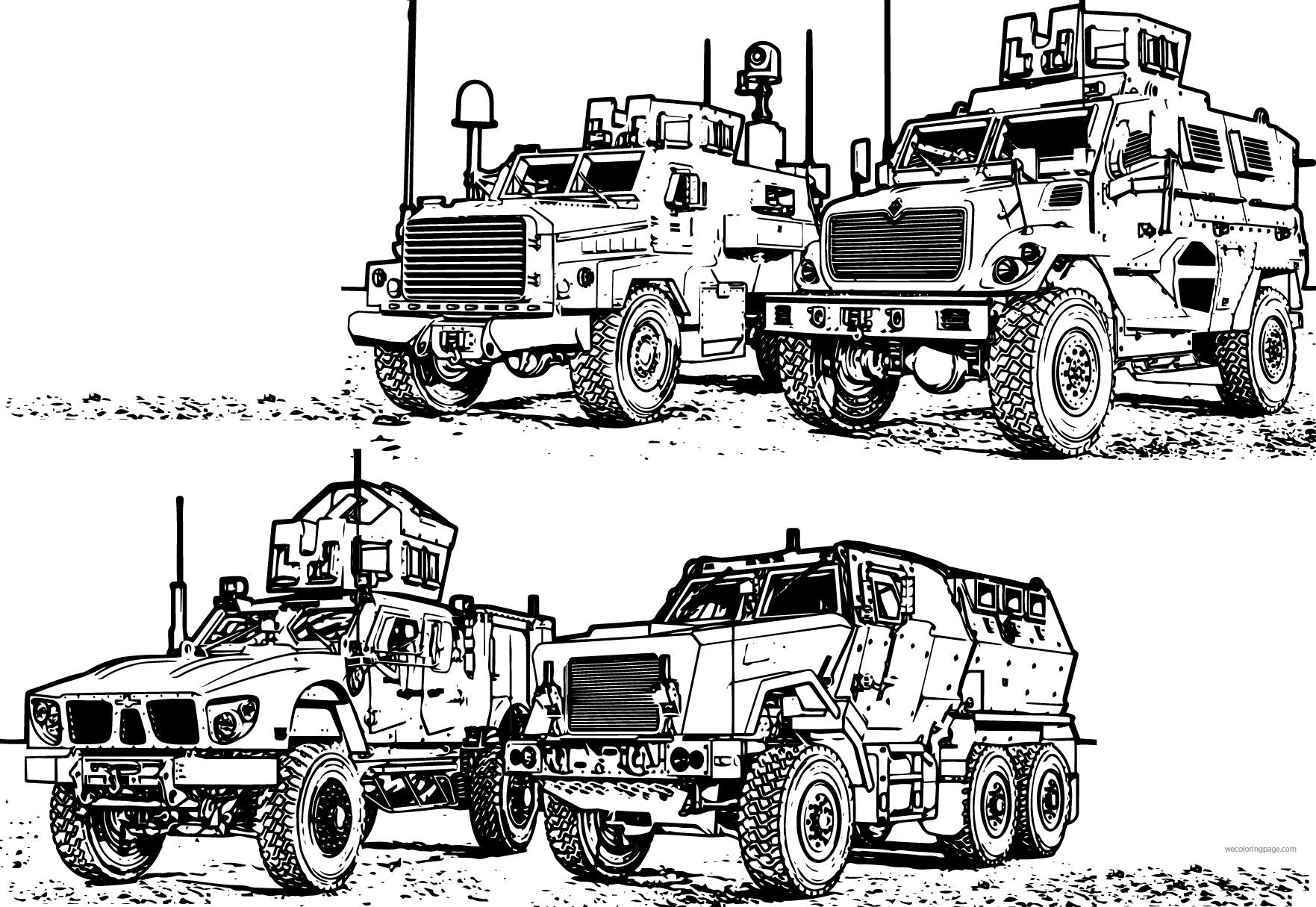 4 Mrap Army Military Vehicle Coloring Page Mixed Coloring Pages