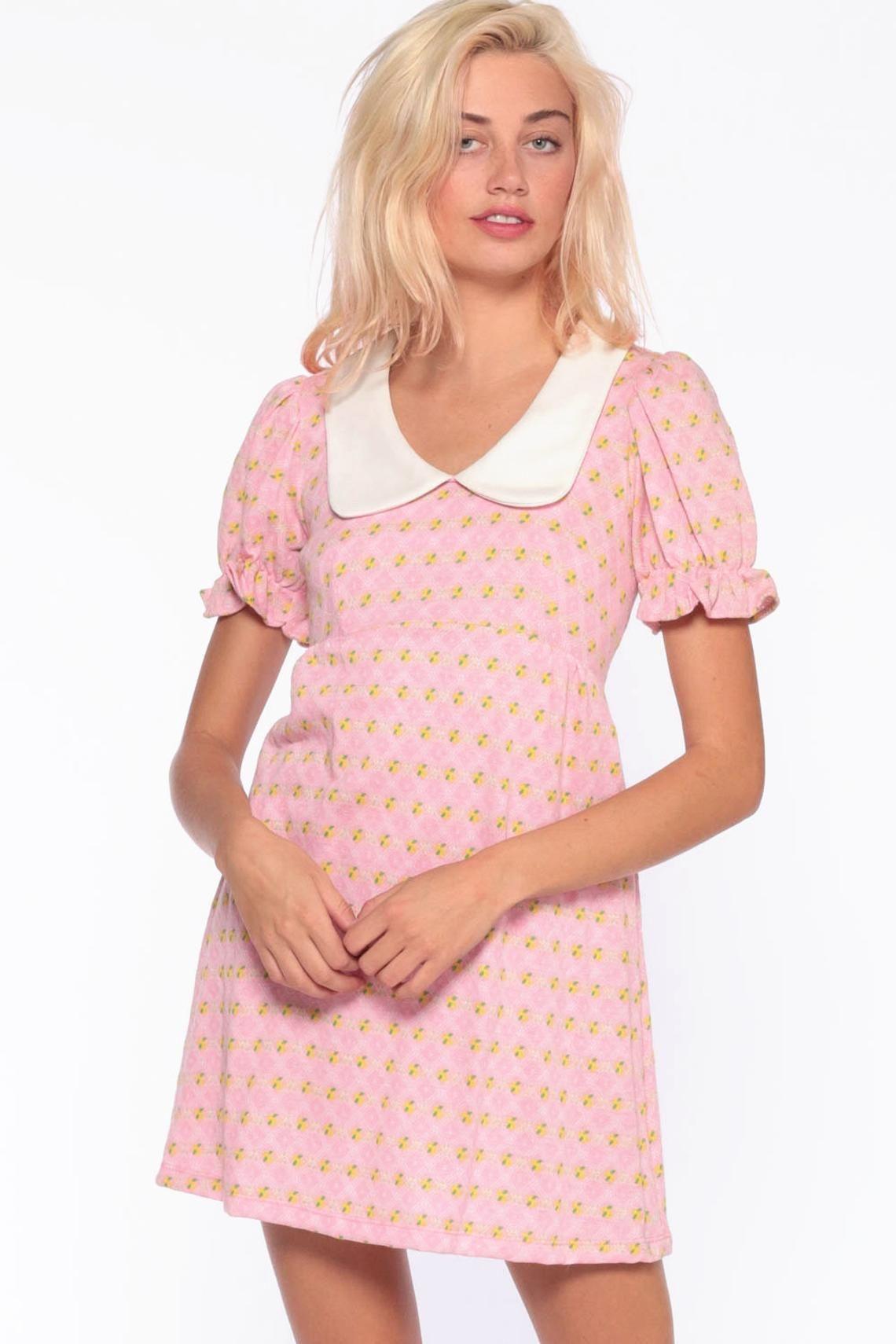 60s Babydoll Dress Pink Peter Pan Mod Mini Dress Floral Etsy Mod Mini Dress Pink Dress Babydoll Dress