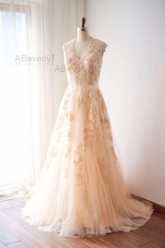 Erröten rosa Perlen Spitze Tüll Hochzeit Kleid V Neck von ABoverly1