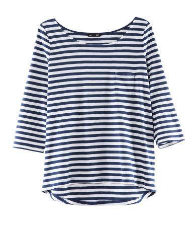 HMUSA nautical stripes blue and white top