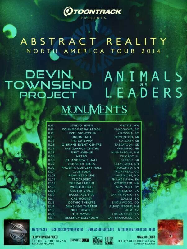 Devin Townsend And Animals As Leaders Announce Co Headlining North American Tour Support From Monuments American Tours Townsend Tours
