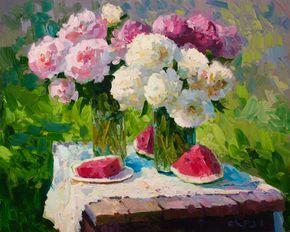 impressionistic paintings of peonies | Peonies Painting