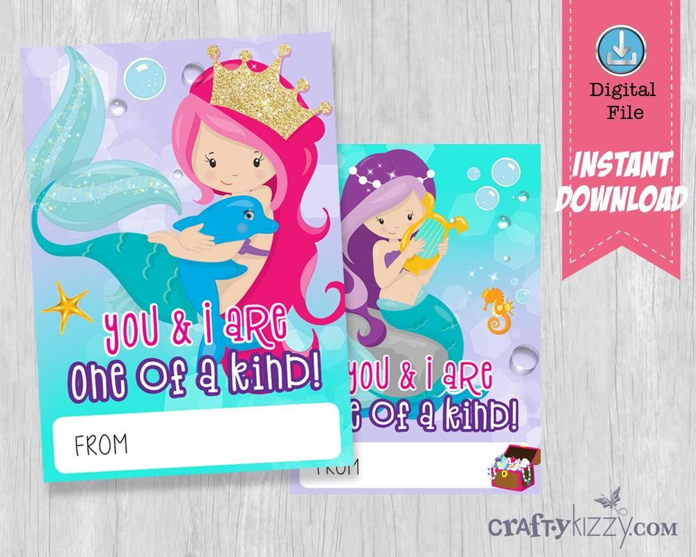 Mermaid Valentines Day Printable Cards School Classroom