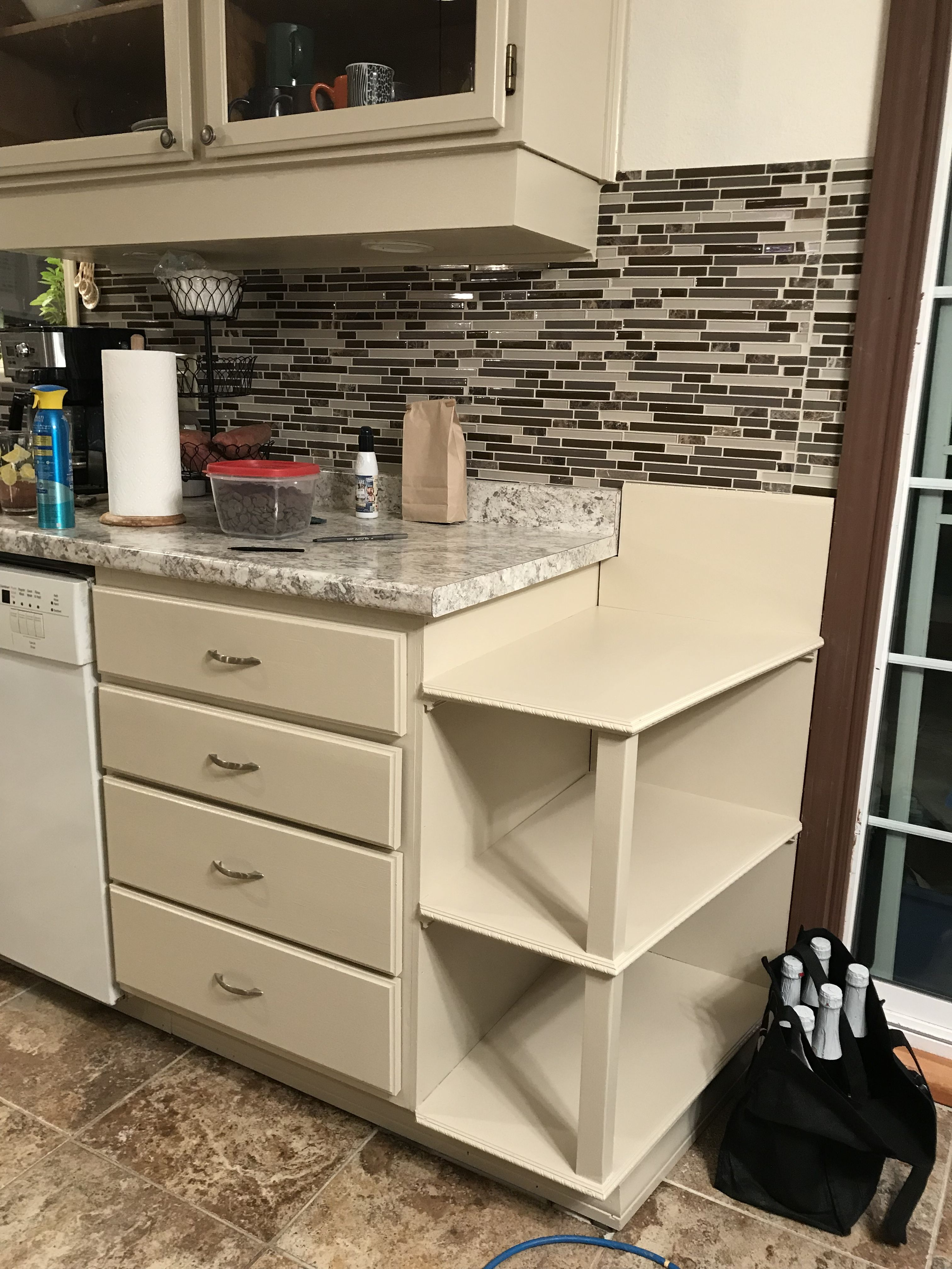 An Easy Counter Top End Shelf Idea We Removed An Old Cabinet And Had To Cover Up Some Flooring That Didn T Have Ti Old Cabinets Rustic Kitchen Updated Kitchen