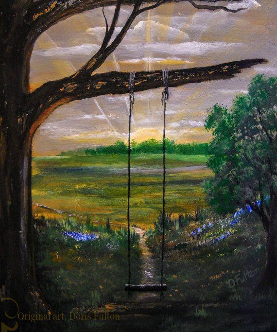 Tree Swing Texas Art Digital File Original by SoftSpokenTexasGal