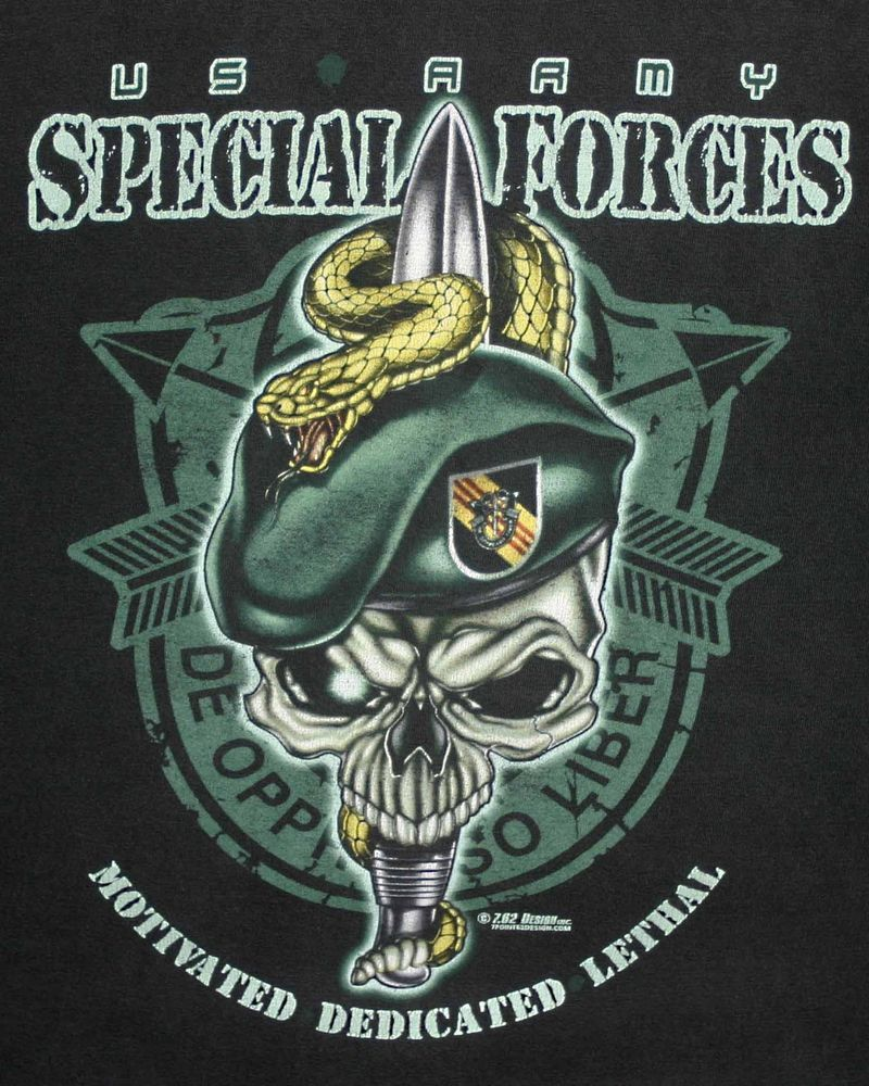 417599864 U.S.ARMY 5TH SPECIAL FORCES GROUP PATCH GREEN BERET SKULL 7.62 T-SHIRT Sz.M