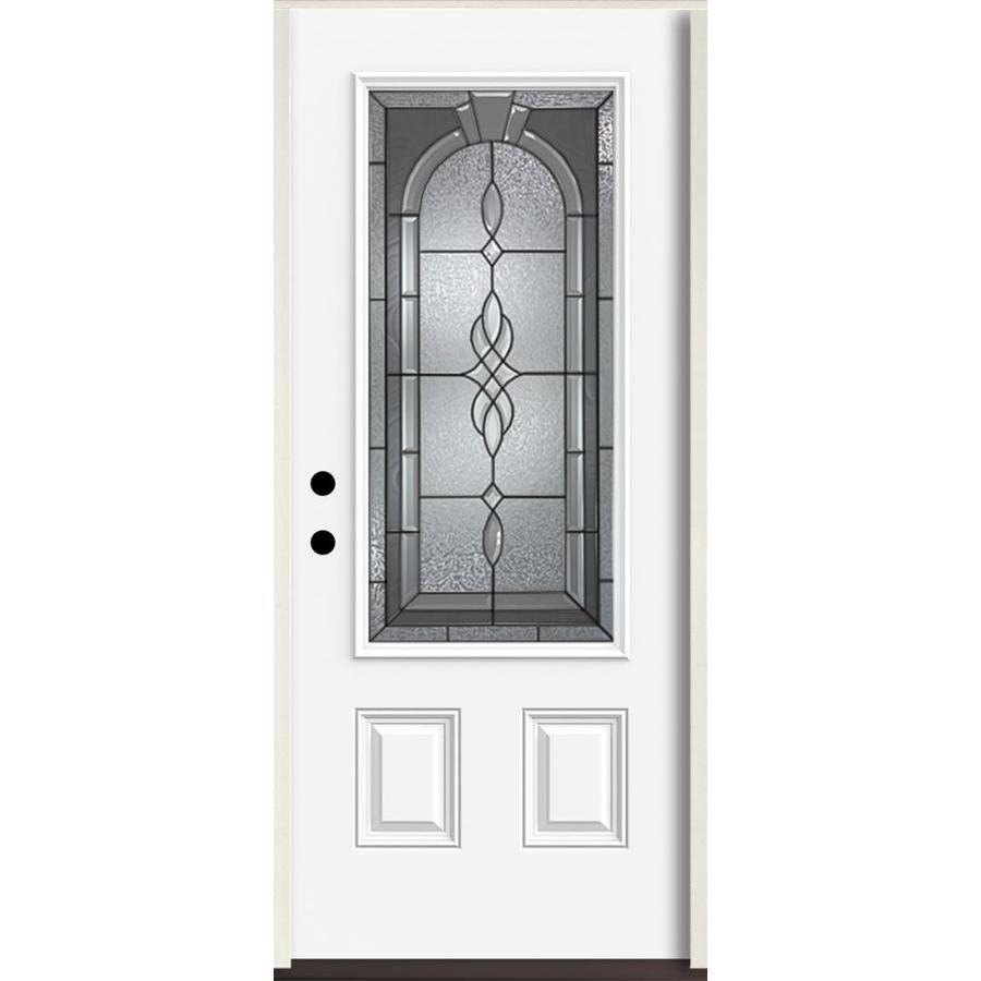 Reliabilt Hampton 3 4 Lite Decorative Glass Right Hand Inswing Fiberglass Prehung Entry Door With Insulating Core Common 36 Reliabilt Entry Doors Glass Decor