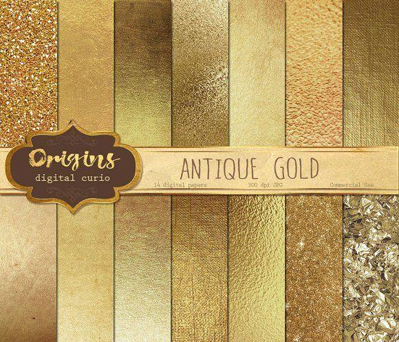 Gold Textures Digital Paper @creativework247
