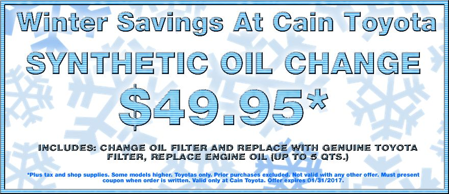 Time for an oil change? Don't your coupon! EXP 1/31