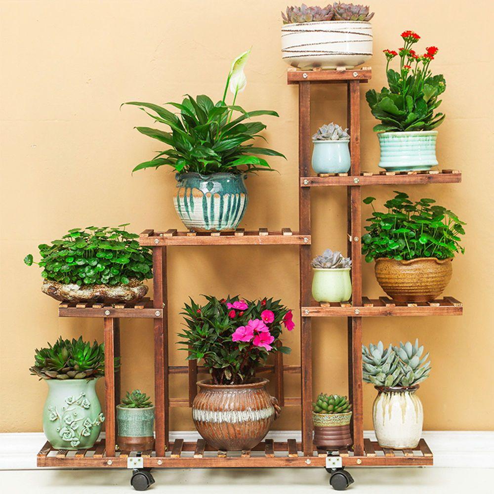 Fir Wood Plant Flower Pot Stand Shelf Rack Display Wheels Indoor Outdoor Garden Flores De Madeira Bancas De Flores Plantas Indoor