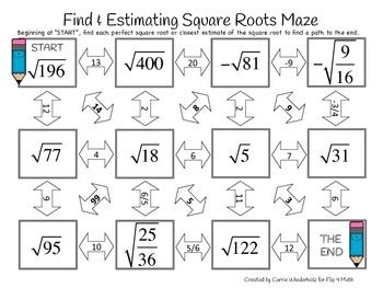 Finding and Estimating Square Roots Maze | Math | Pinterest | Square ...