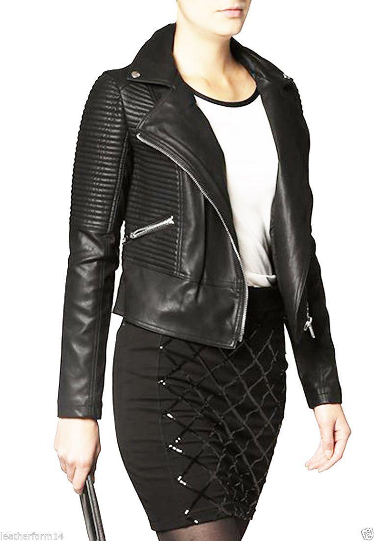 Leather jacket xl size - W003 New Women Motorcycle Black Biker Leather Jacket Coat Size Xs S M L Xl Xxl