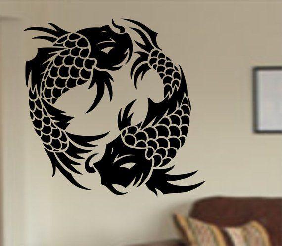 koi fish wall decal sticker art decor bedroom design mural version
