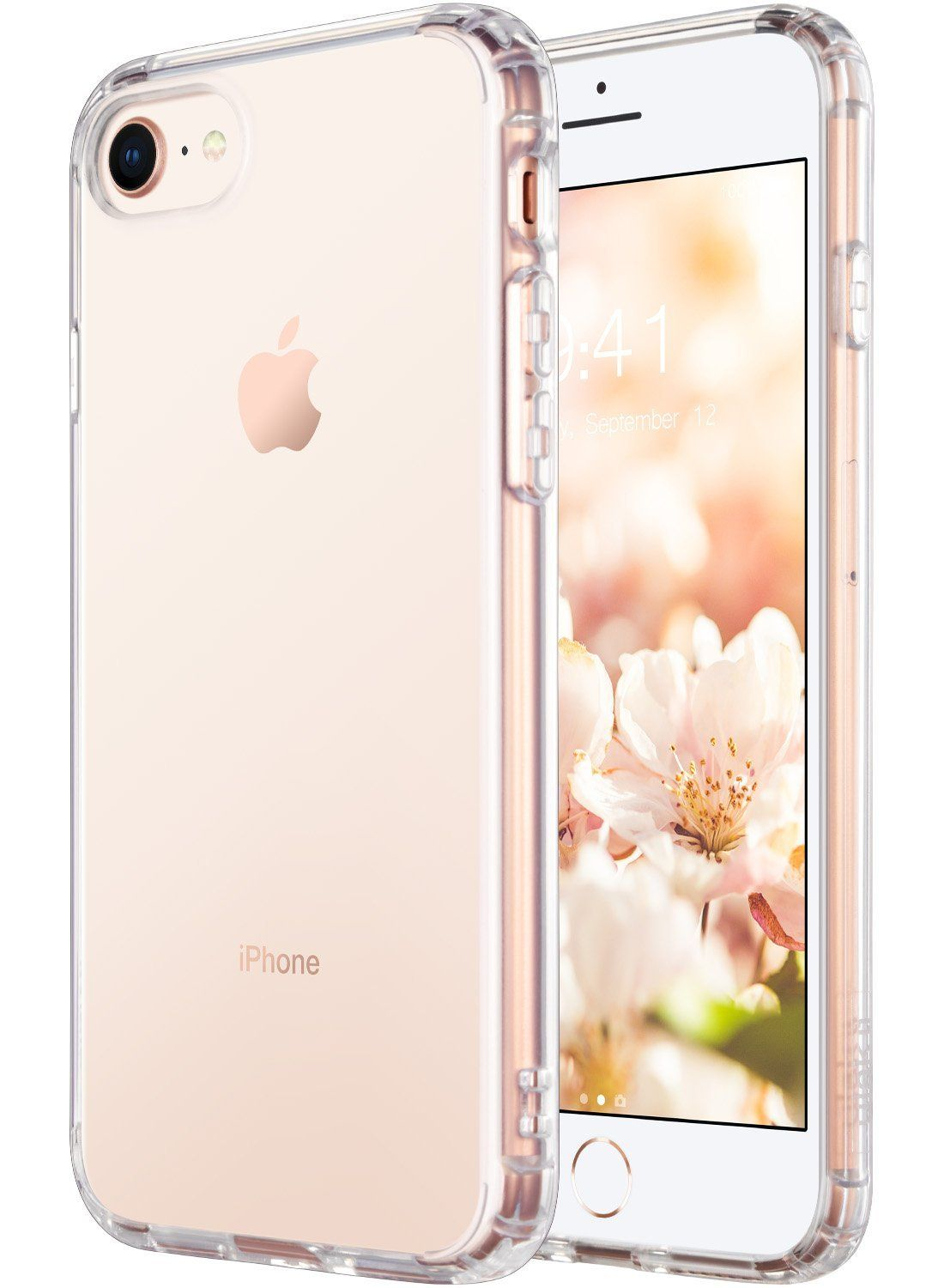 edd55dd6d3 iPhone 8 Case Clear, iPhone 7 Case, ULAK Clear Slim Premium Hybrid Shock  Absorbing & Scratch Resistant Clear Case Cover Hard Back Panel + TPU Bumper  for ...