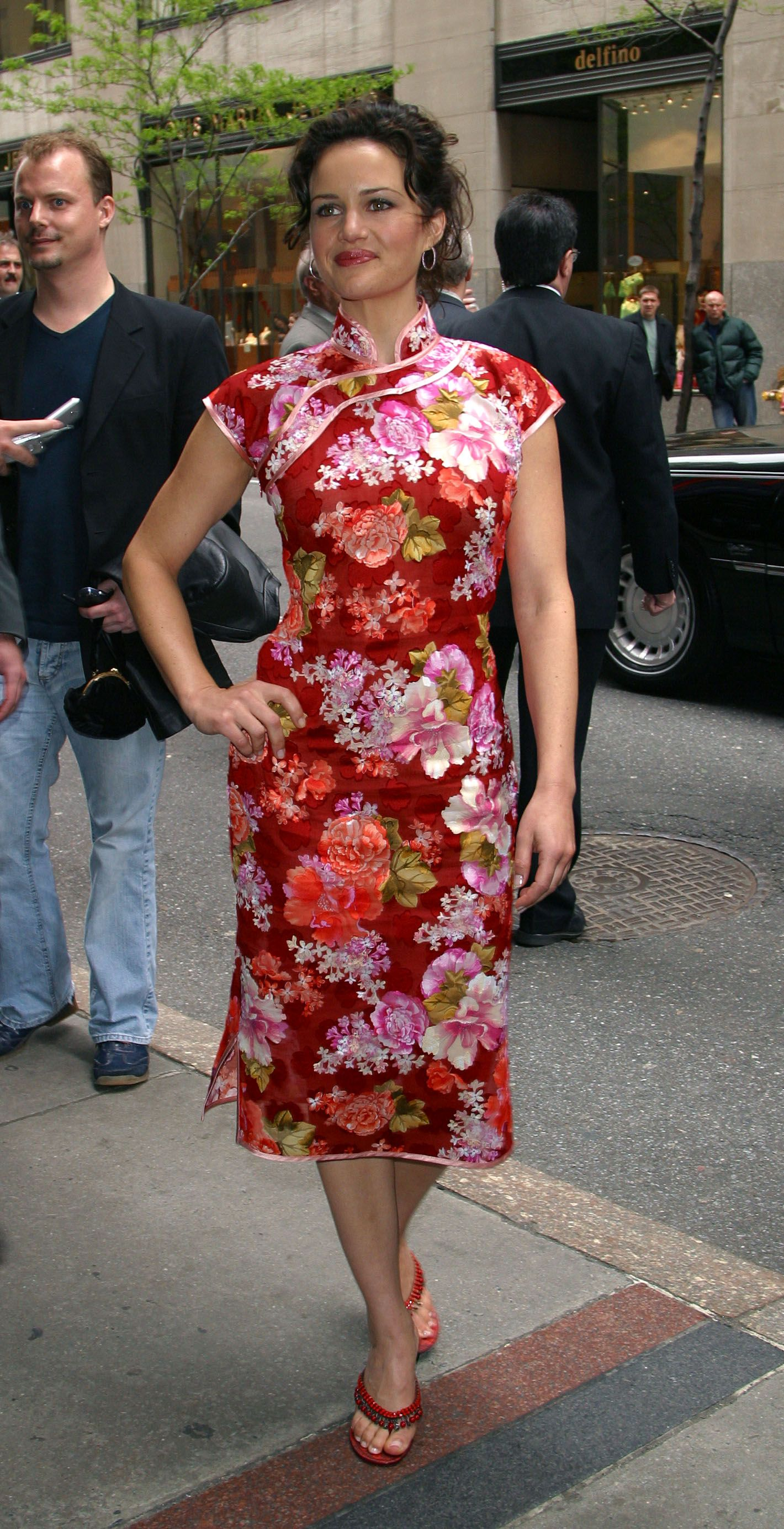 American Actress Carla Gugino in Red Cheongsam Qipao at ABC TV ...