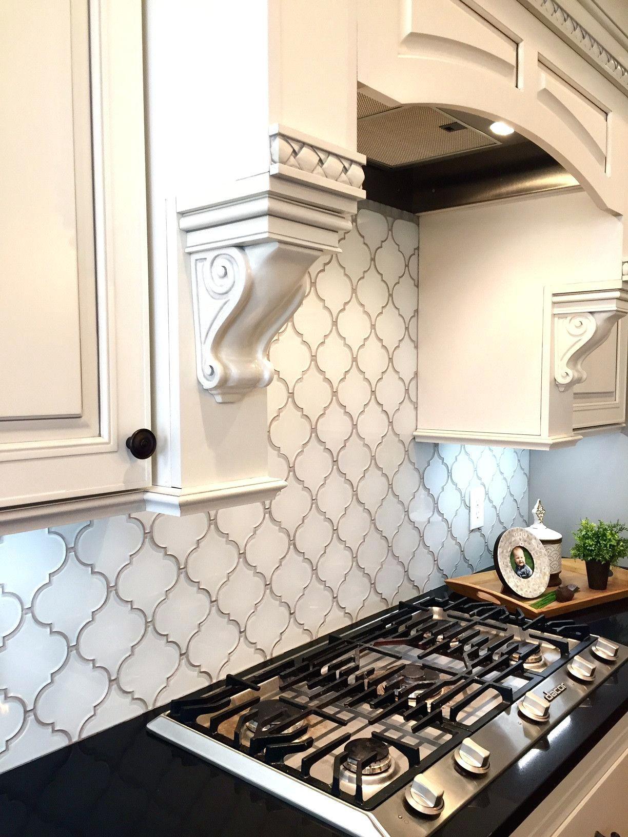 - Beveled Arabesque Tile Backsplash Snow White Arabesque Glass