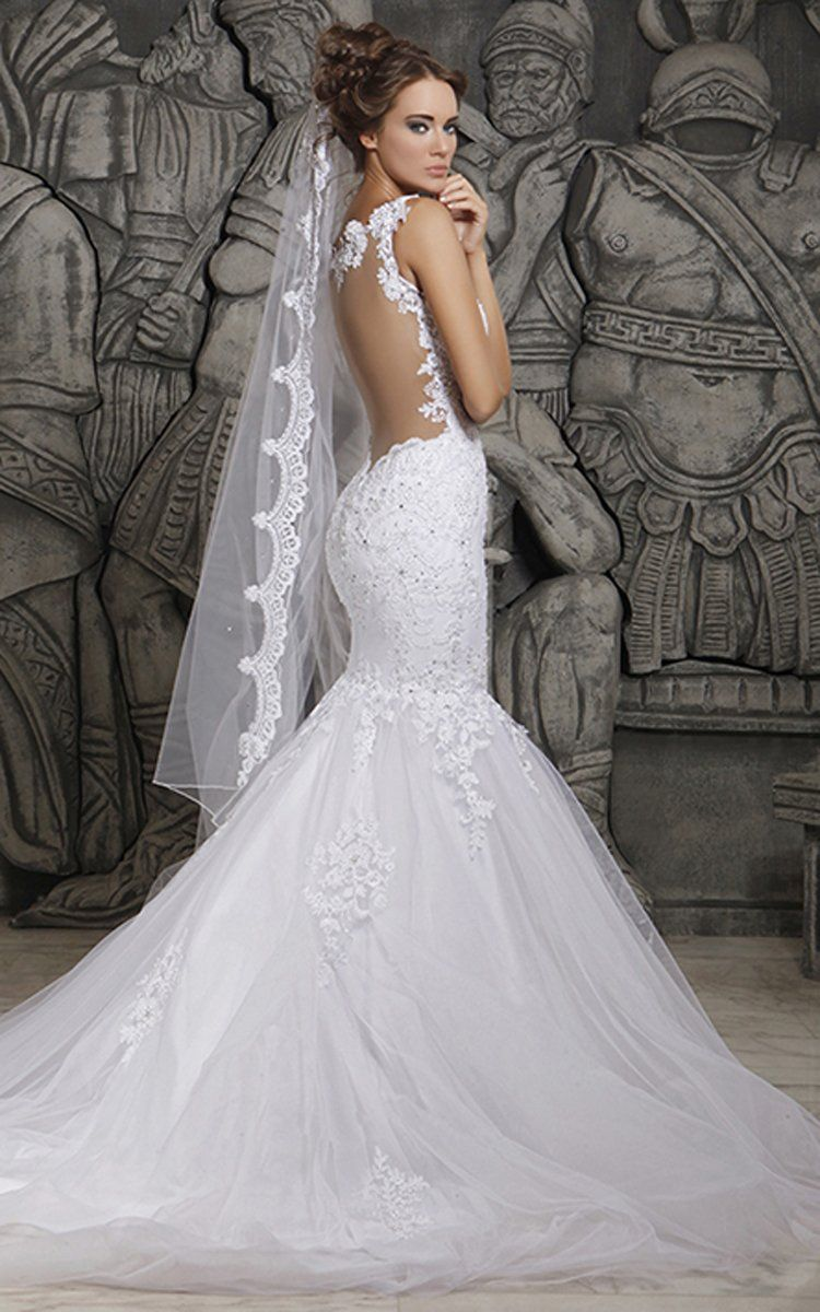 Magnificent tulle mermaid lace wedding dress with wedding veil w