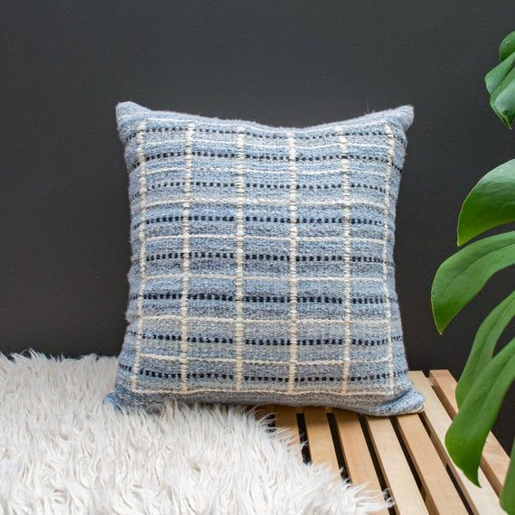 Light Blue Hand Woven Grid Patterned Neutral Square Boho Scandinavian Modern Farmhouse Throw Pillow