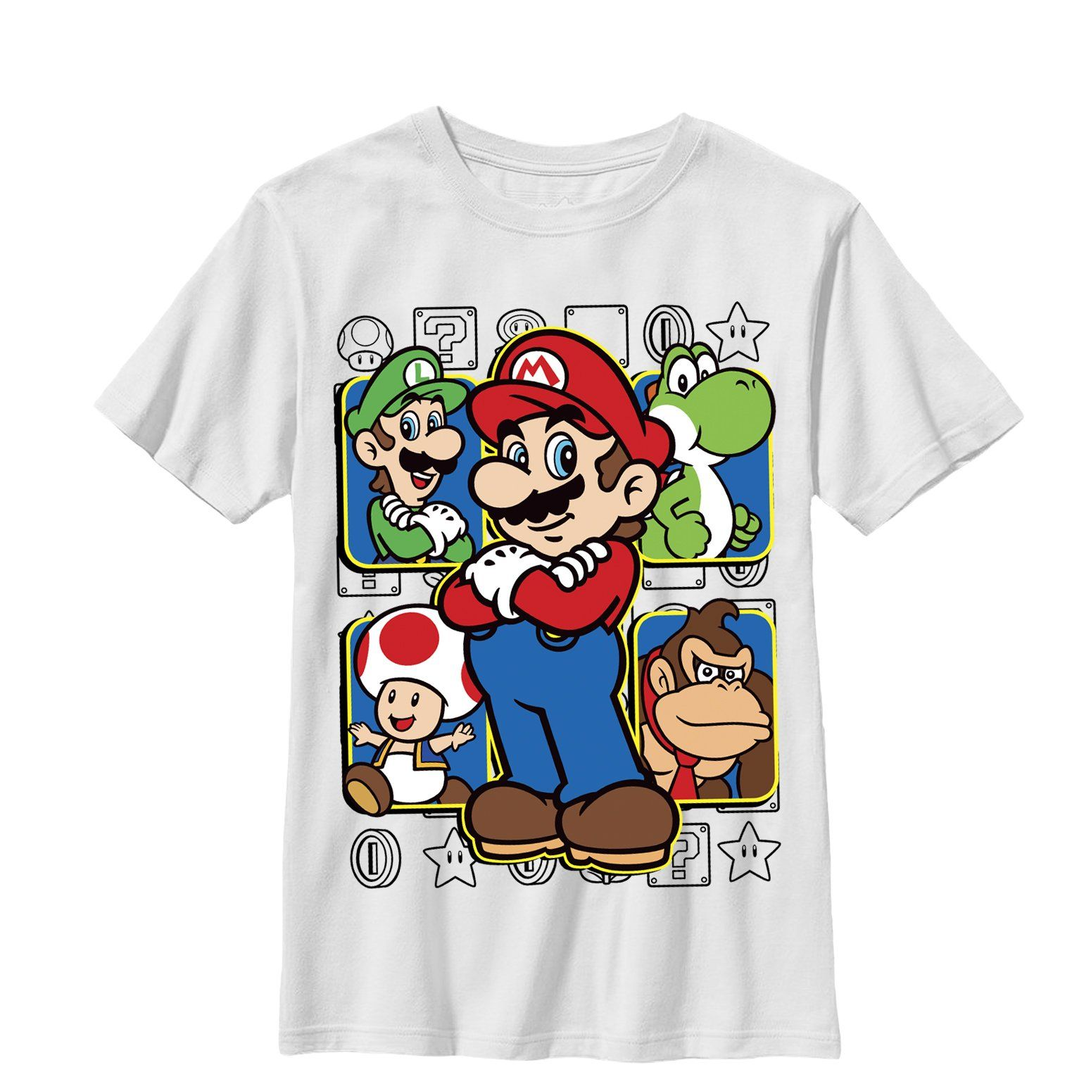 Nintendo Boy S Mario Super Squad T Shirt White White Graphic Tee Mario Graphic Tees [ 1550 x 1550 Pixel ]