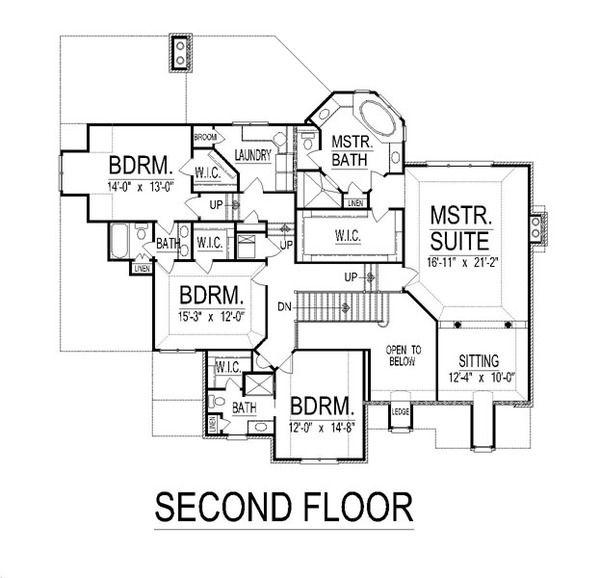 European Style House Plan - 5 Beds 5 Baths 5665 Sq/Ft Plan #458-19 Floor Plan - Upper Floor Plan - Houseplans.com
