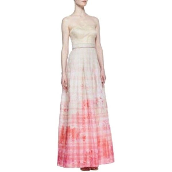Pre-owned Kay Unger Pink Floral Ivory Ball Gown Strapless Ombre ...