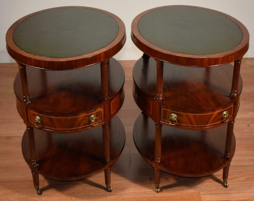 1920s Weiman English Regency Mahogany Inlay Green Leather Top Pair Side Tables Side Table Green Leather Mahogany [ 790 x 1000 Pixel ]