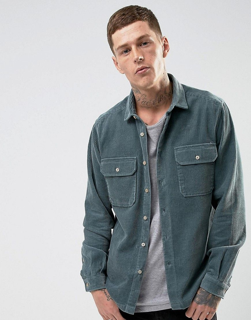 ba60d6a85f ASOS Overshirt In Heavy Cord in Teal - Green