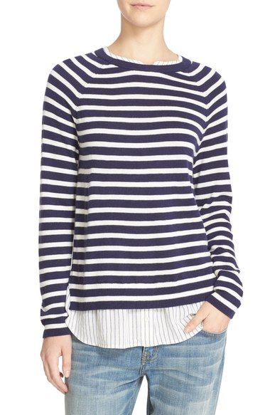 Joie 'Zaan E' Layered Look Stripe Sweater available at #Nordstrom
