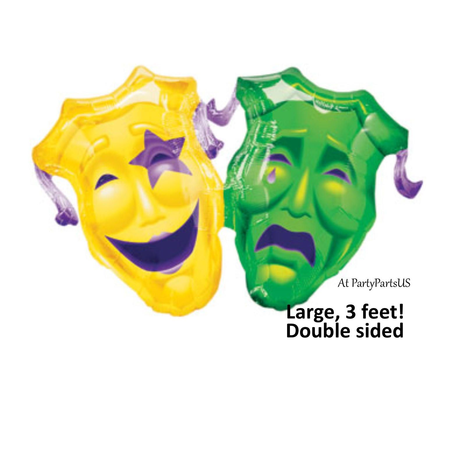 Mardi Gras Comedy Tragedy Masks Balloon, Huge, Drama, Performing ...