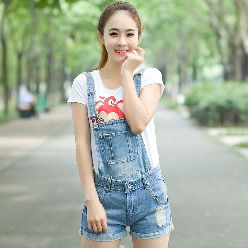 6a26be8e6b Plus Size Summer Style 2016 Korean Fashion Ripped Hole Vintage Playsuit  Shorts Jumpsuit Denim Overalls Women