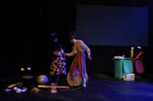 Brief Encounters at the Empire Theatre. Lifesize puppet and rag doll in handmade crochet dress. kelly-marie mcewan and matt collins 6.  All props made by the performers.