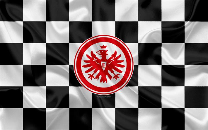 Download Wallpapers Eintracht Frankfurt 4k Logo Creative Art Black And White Checkered Flag German Football Club Bundesliga Emblem Silk Texture Frankfu Flags For Sale Custom Soccer Sports Flags