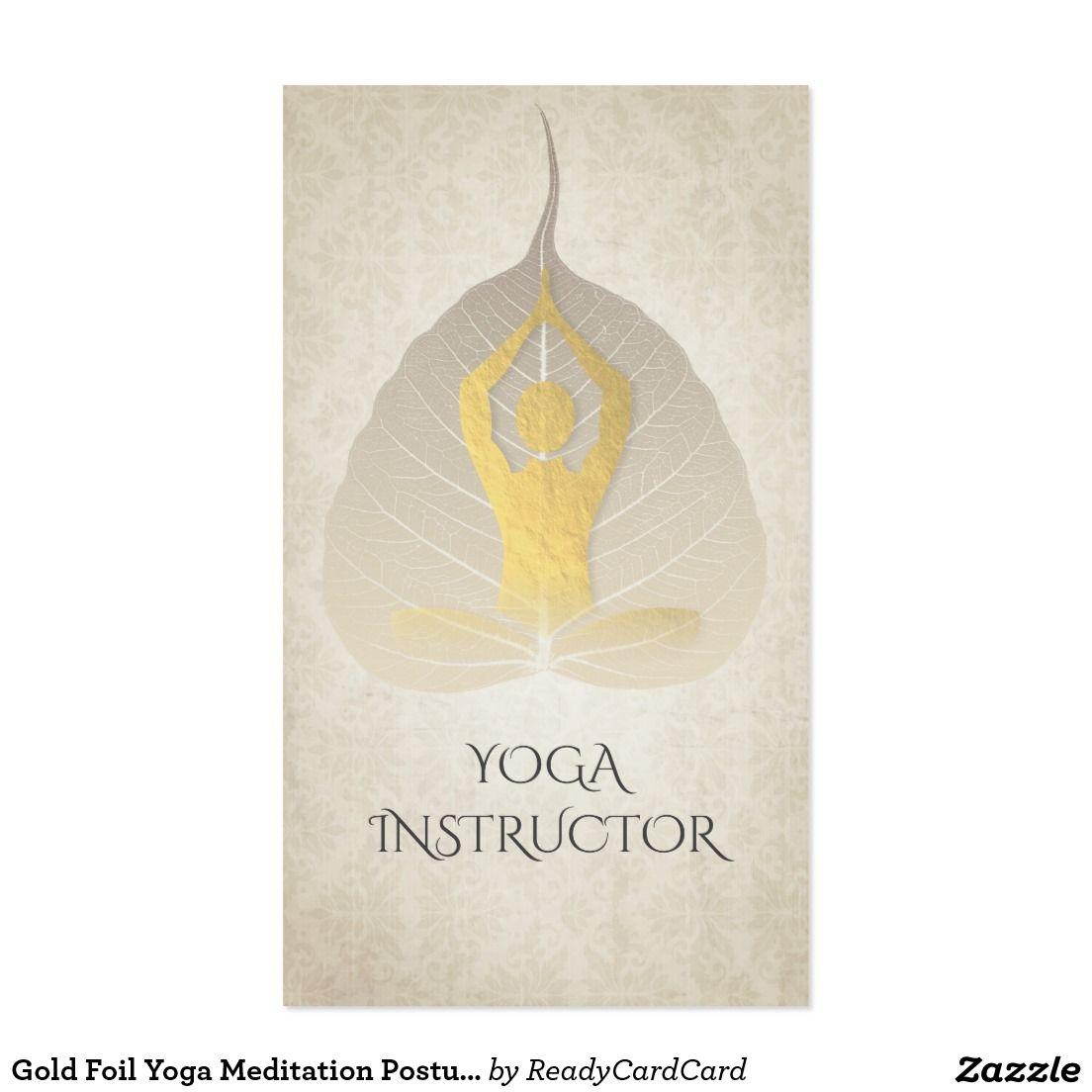Gold Foil Yoga Meditation Posture With Bodhi Leaf Business Card