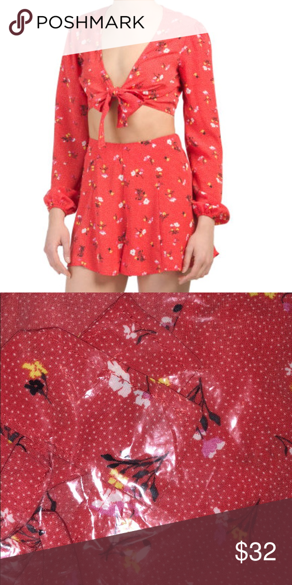 45cb6cd0c Floral co ord set Red tie front top and flowy floral shorts Tops Blouses