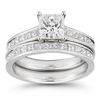 costco princess cut diamond eternity wedding set 2 05 ctw