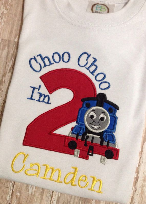 Thomas The Train Birthday Shirt Applique Embroidery On Etsy 2800