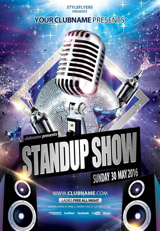 Stand-up-show-PSD-Flyer Modelos Pinterest Psd flyer - talent show flyer