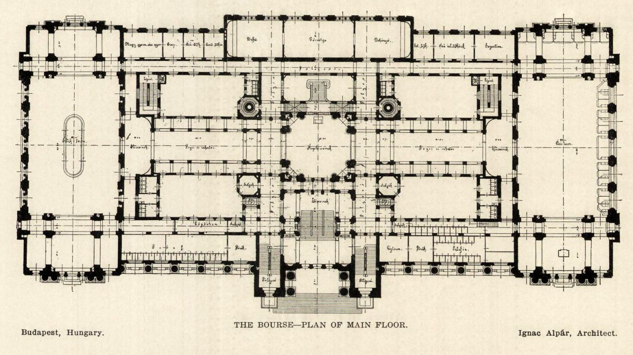 The Floor Plan Of The Stock Exchange Budapest Architecture Mapping Floor Plans How To Plan