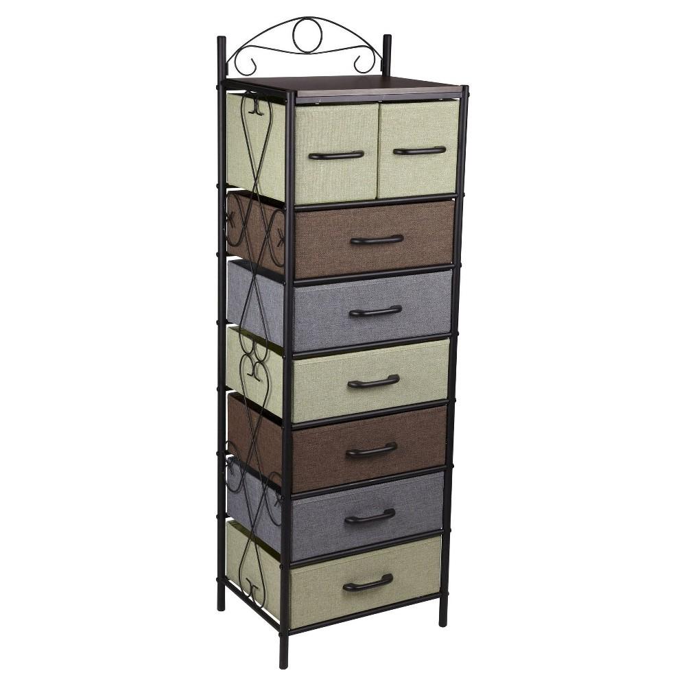 Household essentials tier vertical storage drawer unit brown