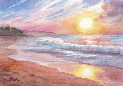 Sunset Beach Hawaii Watercolor Painting Beach Watercolor