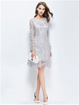 546b6e2d71 Elegant Lace Hollow Round Neck Long Sleeves Sheath Knee Length Cocktail  Dress