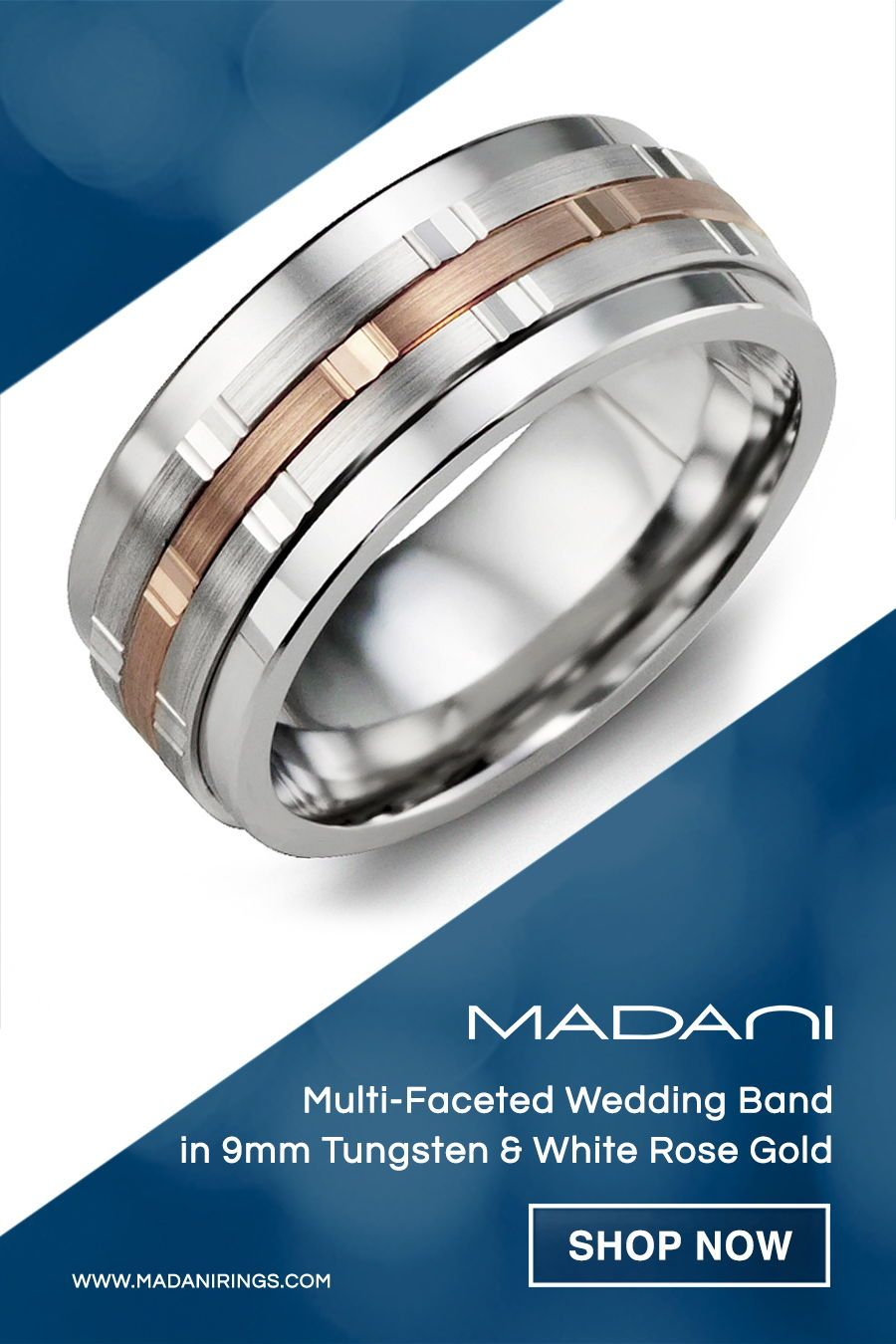 Men S Multi Faceted Wedding Band In Cobalt White Rose Gold