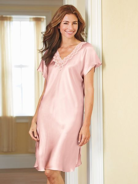 b8759aa8ae Washable Silk Charmeuse Short Sleeve Nightgown in 2019