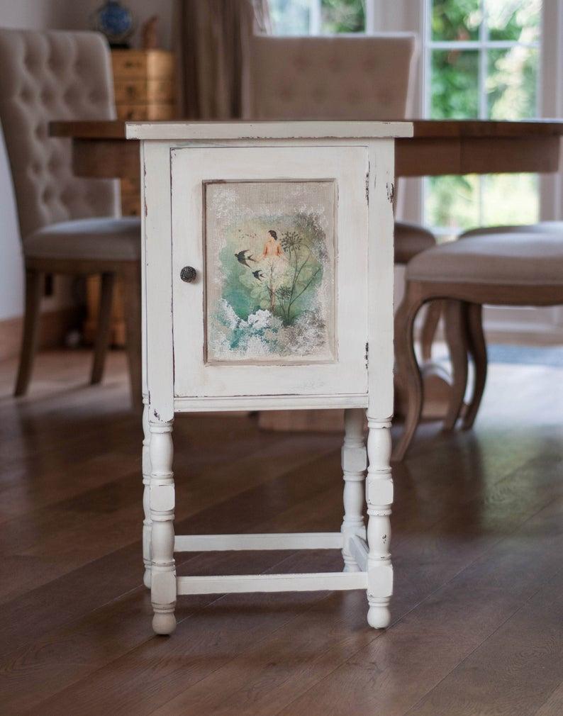 Cream Bedside Tables: Cream And Sage Vintage Oak Bedside Cabinet, Vintage