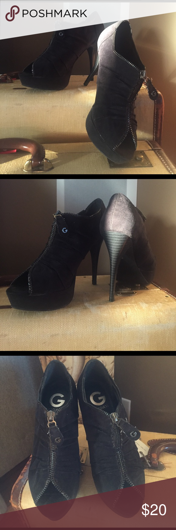 "Guess platform booties Black faux suede peep toe bootie. Zipper detail. 4.5"" heel 1"" platform. Barely worn size 6 but fits like a 6.5 G by Guess Shoes Ankle Boots & Booties"